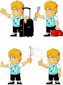 Blonde Rich Boy Customizable Mascot 8