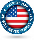 stock photo of patriot  - Patriot Day the 11th of september blue label we will never forget you vector illustration - JPG
