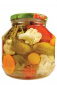 Pickled Canned Vegetables Homemade Assortment, Isolated Glass Jar, Large Detailed Macro Closeup
