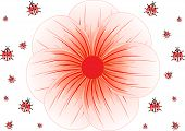 Background of ladybirds and big red flower, vector illustration
