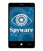 foto of spyware  - Smartphone Spyware concept image with text and related graphical element - JPG