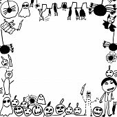 Scribbles Of Halloween Monsters Background Frame