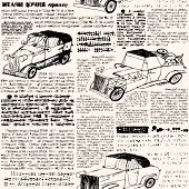Imitation of retro newspaper with cars.