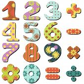 image of poka dot  - scrapbook numbers and signs on white background vector illustration - JPG