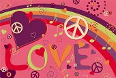 picture of peace-sign  - Abstract concept collage of hearts - JPG