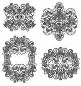 four ornamental floral adornment