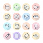 Thin Line Icons For Food