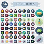 Flat Design Icons For Food And Drinks