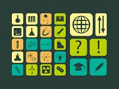 Modern flat vector set of scientific icons