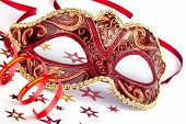 image of masquerade mask  - Red masquerade mask with confetti and streamer - JPG
