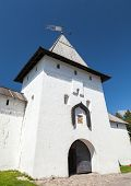 Entrance Tower Of Ancient Pskov Krom Or Kremlin. Russia