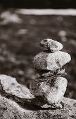 Stack Of Rocks On Norwegian Mountain, Norway Nature. Black And White Photo