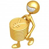 Smiling With Gold Yen Coins
