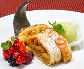 Slices Of Strudel With Raisins And Apples, Selective Focus