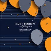image of birthday  - Vector birthday card with balloons and birthday text - JPG