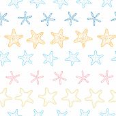 vector starfish colorful line art frame seamless pattern background