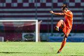 Sisaket Thailand-september 21: Jirawat Daokhao Of Sisaket Fc. Shooting Ball During Friendly Match Be