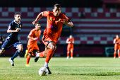 Sisaket Thailand-september 21: David Bala Of Sisaket Fc. In Action During Friendly Match Between Sis