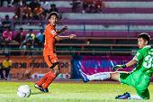 Sisaket Thailand-september 21: Tadpong Lar-tham Of Sisaket Fc. Shooting Ball During Friendly Match B