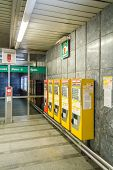 Automatic subway tickets machines in a station