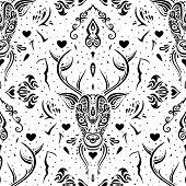 Deer head. Seamless pattern.