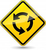 Roundabout Yellow Sign
