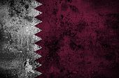 Grunge Flag Of Qatar With Capital In Doha