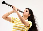 Teenage girl with the clarinet