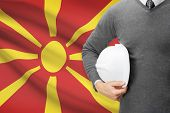 Architect With Flag On Background  - Republic Of Macedonia