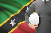 Architect With Flag On Background  - Saint Kitts And Nevis