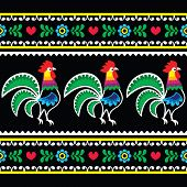 Polish folk art pattern with roosters on black - Wzory lowickie, Wycinanka