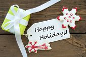 Red And Green Christmas Happy Holidays Label