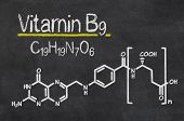 Blackboard with the chemical formula of Vitamin B9