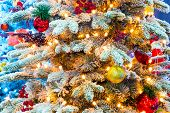 Bright Elegant Christmas Tree With Ornaments