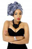 Female Model wearing Traditional Headdress, Isolated on White