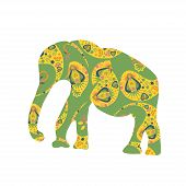 Elephant Vector Silhouette For Design Fabrics, T-shirts, Dishes And Other Purposes