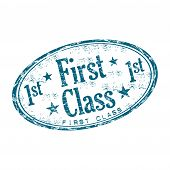 image of first class  - Blue grunge rubber stamp with the text first class written inside the stamp - JPG