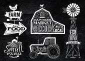 picture of farm landscape  - Farm characters in vintage style lettering in tractor barn and the mill and the sign field stylized drawing with chalk on blackboard - JPG