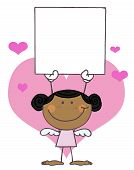 Black Female Stick Cupid Holding A Blank Sign