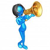 Pregnant Woman Shouting In Megaphone