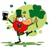 Dancing Leprechaun Holding A Shamrock And Beer