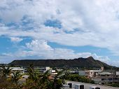 Diamond Head, Buildings, And Kapahulu Town Area Of Honolulu