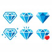 Diamond, luxury blue vector icons set - wealth concept