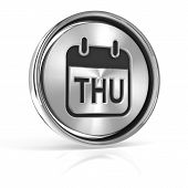 stock photo of thursday  - Thursday metallic icon - JPG