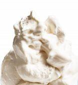 Vanilla Soft Ice Cream In Blue Bowl Isolated Over White Background. Ice-cream  Macro