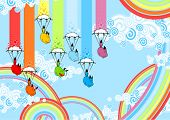 Rainbow monsters with parachutes (raster version)