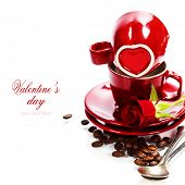 Valentine card. Chocolate and coffee for Valentine's Day (with easy removable sample text)