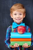 picture of pre-adolescents  - Redhead pupil expressing inspiration and positivity with multicolor book and an apple - JPG