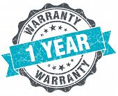 1 Year Warranty Vintage Turquoise Seal Isolated On White