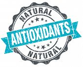 Antioxidants Vintage Turquoise Seal Isolated On White